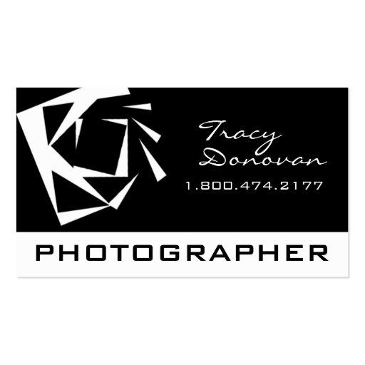 "Trendy Photographer ""Quartz"" black & white Business Card Template"