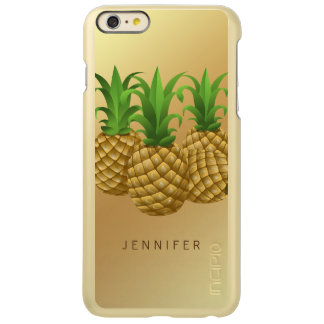 Trendy Pineapple Fruit on Gold Background