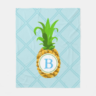 Trendy Pineapple & Initial Letter Fleece Blanket