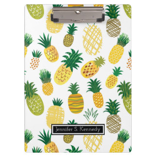 Trendy Pineapple Pattern | Add Your Name Clipboards