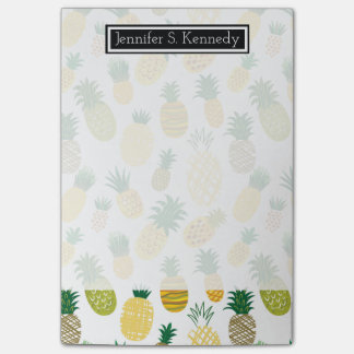 Trendy Pineapple Pattern | Add Your Name Post-it® Notes