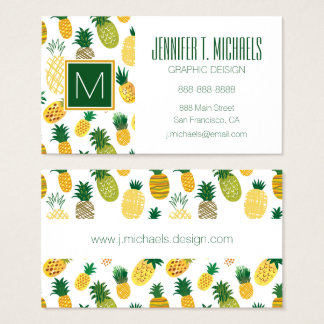 Trendy Pineapple Pattern Business Card