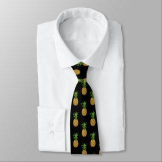 Trendy Pineapple Pattern on Black Tie