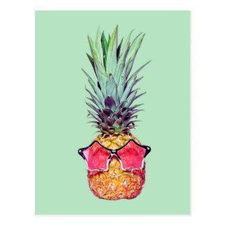 Trendy pineapple postcard