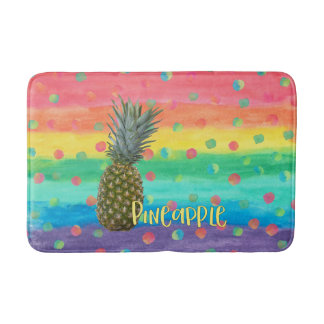 Trendy Pineapple Rainbow Stripes and Dots Bath Mat