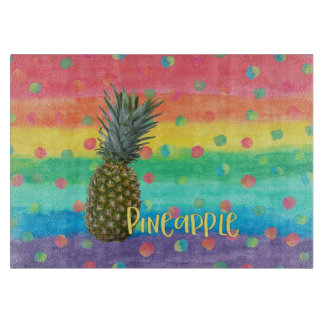 Trendy Pineapple Rainbow Stripes and Dots Cutting Board