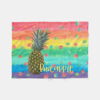 Trendy Pineapple Rainbow Stripes and Dots Fleece Blanket