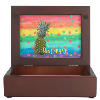 Trendy Pineapple Rainbow Stripes and Dots Keepsake Box