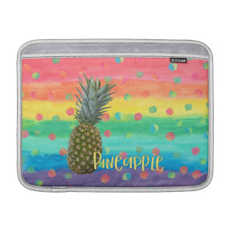 Trendy Pineapple Rainbow Stripes and Dots MacBook Sleeves
