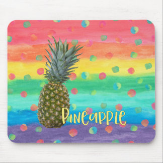 Trendy Pineapple Rainbow Stripes and Dots Mouse Pad