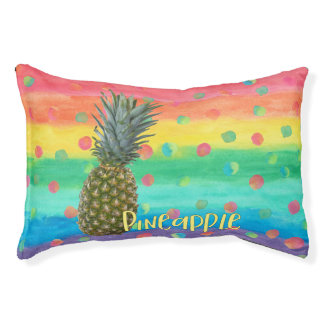 Trendy Pineapple Rainbow Stripes and Dots Pet Bed