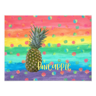 Trendy Pineapple Rainbow Stripes and Dots Photographic Print