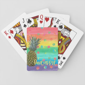 Trendy Pineapple Rainbow Stripes and Dots Playing Cards