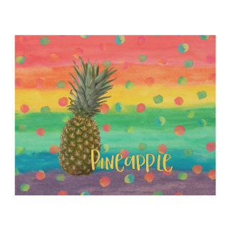 Trendy Pineapple Rainbow Stripes and Dots Wood Prints