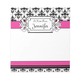 Trendy Pink and Black Girl's Personalised Notepad