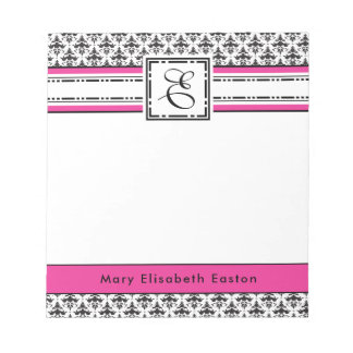 Trendy Pink and Black Lady's Monogram E Notepad