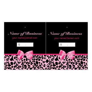 Trendy Pink And Black Leopard Hot Pink Hang Tags Pack Of Standard Business Cards