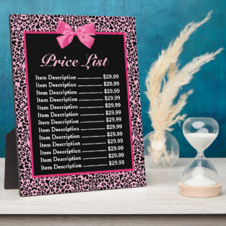 Trendy Pink And Black Leopard Hot Pink Price List Display Plaque