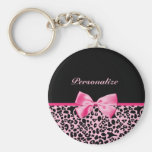 Trendy Pink And Black Leopard Hot Pink Ribbon Basic Round Button Key Ring