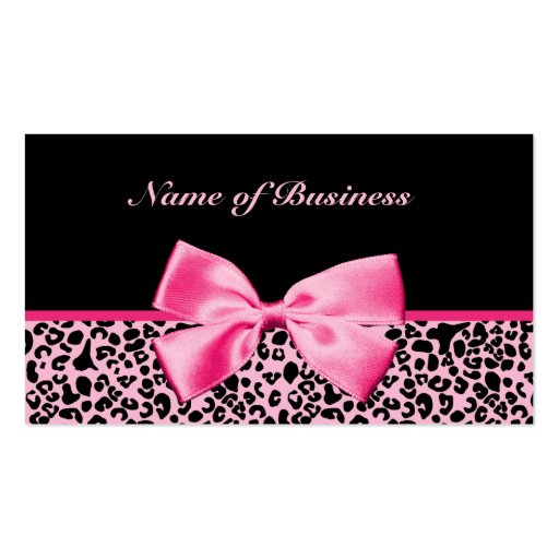 Trendy Pink And Black Leopard Hot Pink Ribbon Business Cards