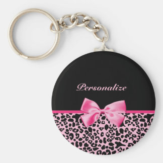 Trendy Pink And Black Leopard Hot Pink Ribbon Key Ring