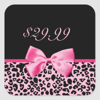 Trendy Pink And Black Leopard Hot Pink Sales Tags