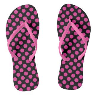 Trendy Pink and Black Polka Dot Thongs