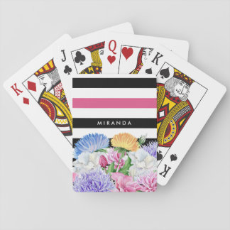 Trendy Pink and Black Stripes Floral With Name Playing Cards