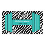 Trendy Pink And Black Zebra Print Personal Trainer Business Card Template