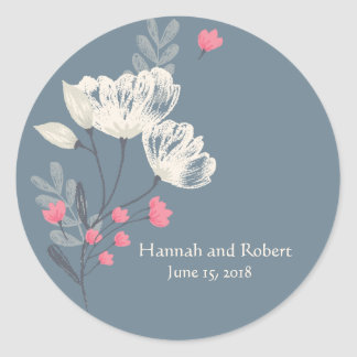 Trendy Pink And Cream Wedding Classic Round Sticker