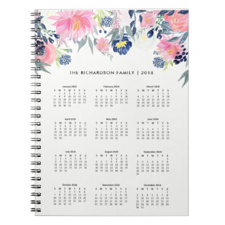 Trendy Pink and Navy Blue Floral | 2018 Calendar Notebooks