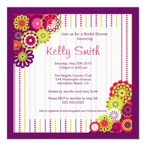 Trendy Pink and Purple flower Bridal Shower Invite