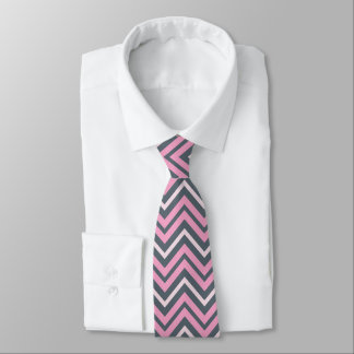 Trendy Pink and Slate Grey Chevron Pattern Tie