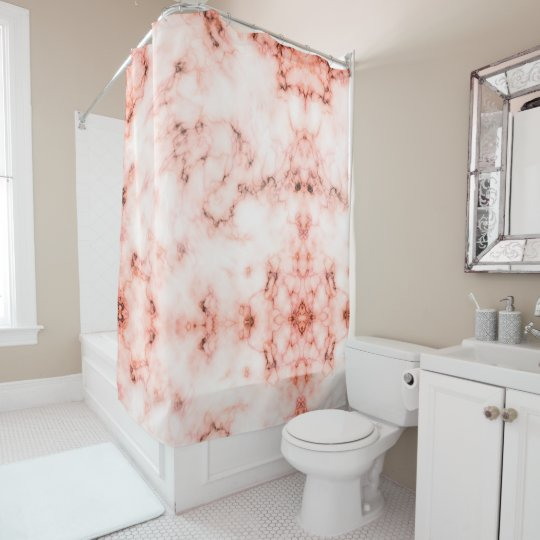 Trendy pink and white marble stone texture design shower curtain
