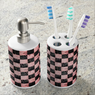 Trendy Pink and white marble stone texture design Soap Dispenser And Toothbrush Holder