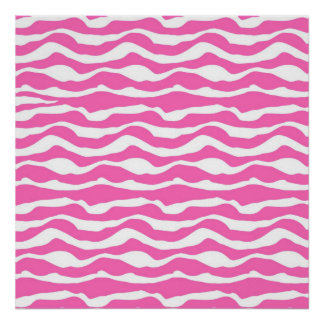 Trendy Pink and White Zebra Striped Pattern Poster