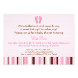 Trendy Pink Baby Feet Baby Shower Invitations