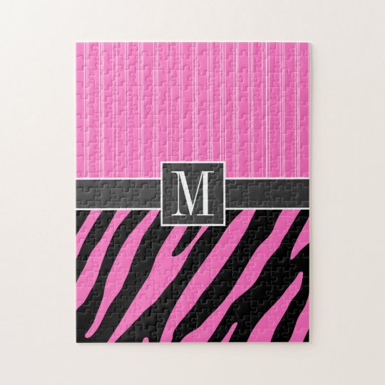 Trendy Pink & Black Zebra Stripes Jigsaw Puzzle