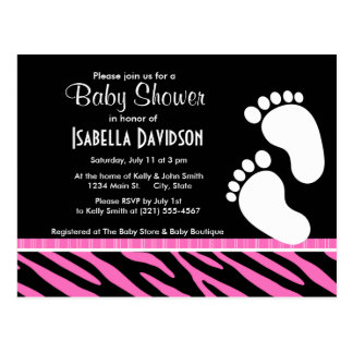 Trendy Pink & Black Zebra Stripes Postcard