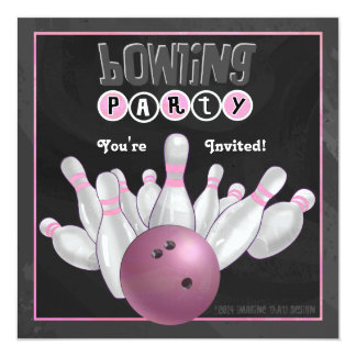 Trendy Pink Bowling Party 13 Cm X 13 Cm Square Invitation Card