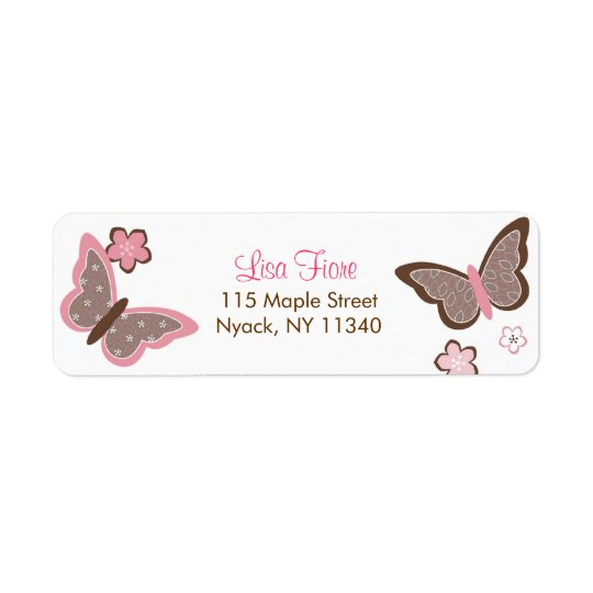 Trendy Pink Butterfly Flower Address Labels
