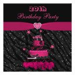 Trendy Pink Cake & Zebra Stripes 20th Birthday Custom Invite