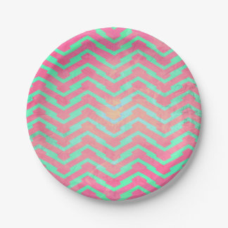 Trendy Pink Chevron Abstract Teal Zig Zag Pattern 7 Inch Paper Plate