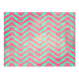 Trendy Pink Chevron Abstract Teal Zig Zag Pattern Post Card