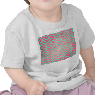 Trendy Pink Chevron Abstract Teal Zig Zag Pattern Tee Shirt