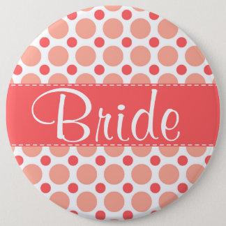 Trendy Pink & Coral Polka Dots 6 Cm Round Badge