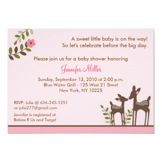 """Trendy Pink Deer Forest Baby Shower Invitations 5"""" X 7"""" Invitation Card"""