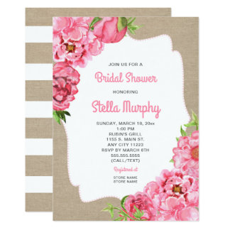 Trendy Pink Floral + rustic canvas Bridal Shower Card
