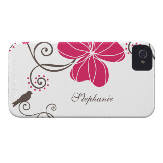 Trendy pink flowers and bird blackberry bold case