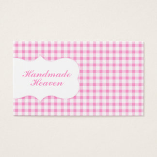 Trendy Pink Gingham Business Card